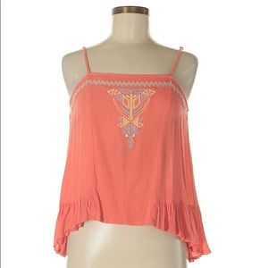 Altar'd State Peach Aztec Sleeveless Top Blouse M
